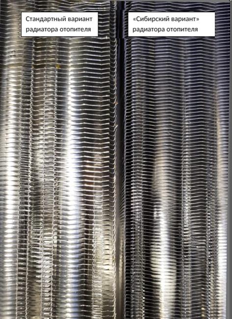 расстояние между пластин радиаторов отопления Стандартной серии и Сибирский вариант